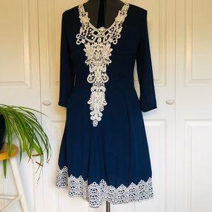 SALE! 2 for $25 Navy Blue Crochet Accent Dress